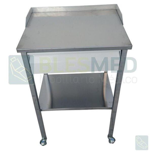 mesa pasteur con cajon cromada