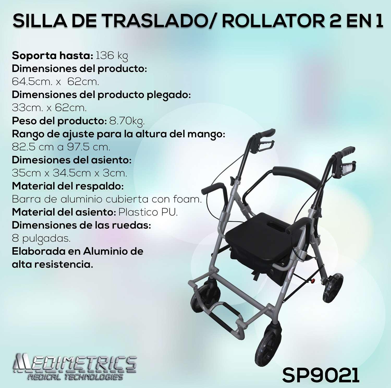 Ficha silla de traslado 2 en 1 rollator andadera sp9021