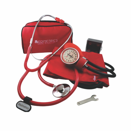 kit Baumanometro Aneroide Medimetrics rojo